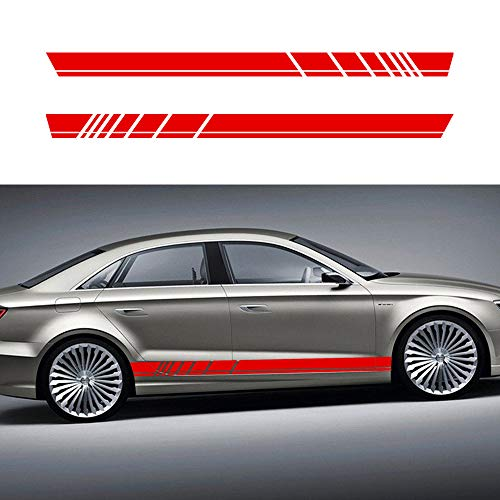 Autotoper Car Side Door Skirt Strip Sticker Decals For Audi A3 A4 A5 A6 A7 Q2 Q3 Q5 B6 RED Vinyl Car Decal Accessories-styling 1 Pair(L+R) ()