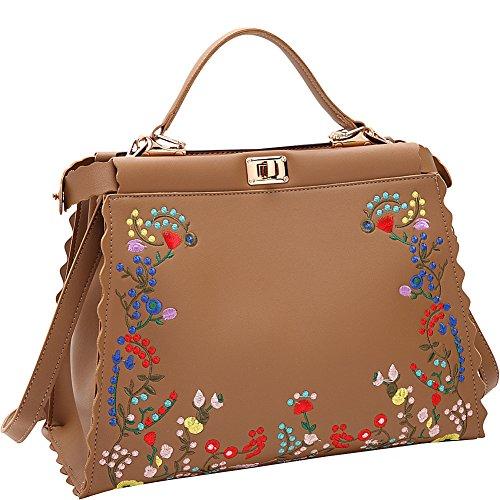 Twist Handbag Hobo Lock (Dasein Embroidered Double Twist Lock Hobo (Tan))