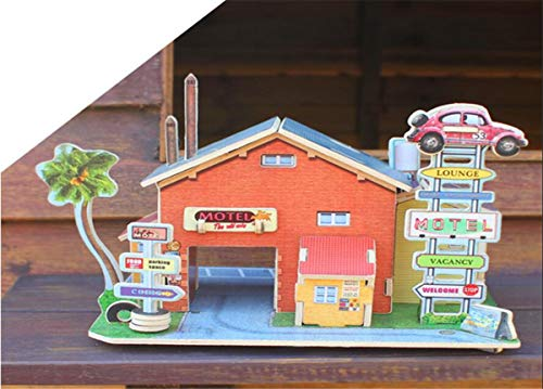 Vintage Inn Hotel - Meshion 3D Puzzle Wooden Handmade Miniature Motor Hotel DIY Toy Assembly Games,Modeling Kit for 6 Years Old Or Up
