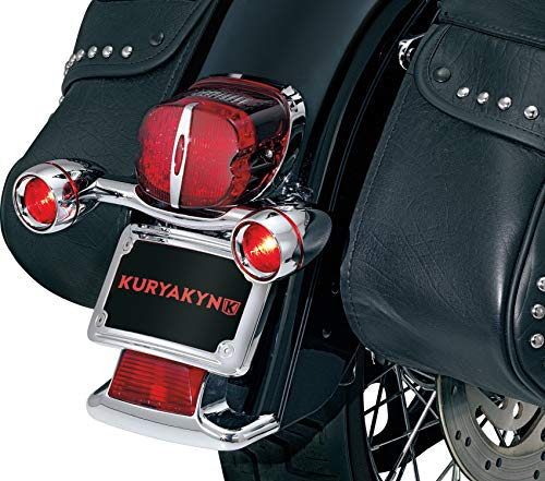 Kuryakyn 2098 Motorcycle Lighting: Rear Position Bullet Style Turn Signal/Blinker Light Bar with Red Lenses and Flat License Plate Support for 1986-2019 Harley-Davidson Motorcycles, Chrome ()
