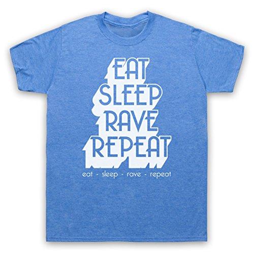 Eat Sleep Rave Repeat Dance Music Slogan Camiseta para Hombre Azul Clásico