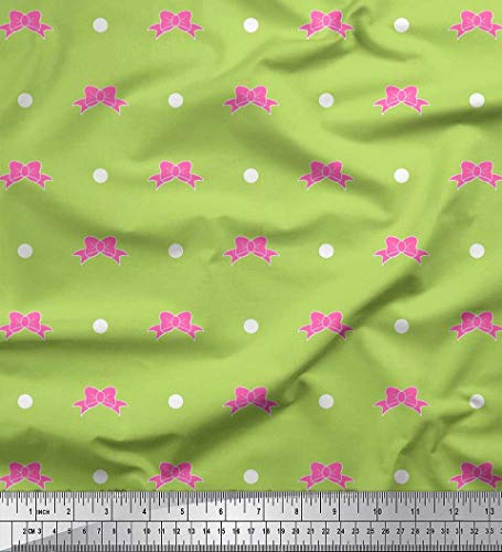 Soimoi Green Crepe Silk Fabric Dot & Floral Fabric Prints by Yard 42 Inch Wide