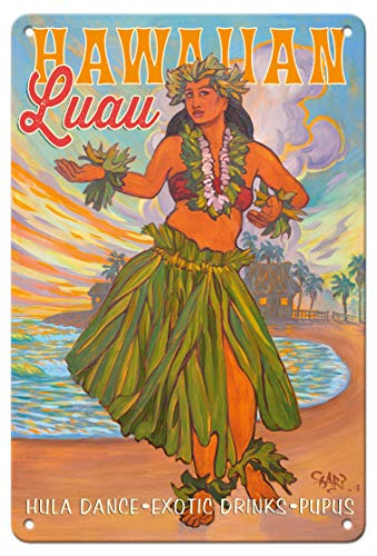 (Pacifica Island Art 8in x 12in Vintage Tin Sign - Hawaiian Luau - Hula Dance, Exotic Drinks, Pupus - Hawaii Hula Dancer Rick Sharp)