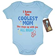 Mon Cheri Baby I Have The Coolest Mom She Stays UP With Me Funny Baby Boy One Piece Infant Bodysuit(0-3)