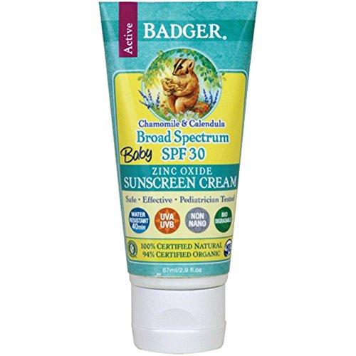 Badger Baby Sunscreen Cream - SPF 30 - All Natural & Certified Organic,2.9 fl.oz (Pack of 3) ,Badger -ufd