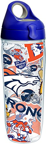 - Tervis 1247863 NFL Denver Broncos All Over Tumbler with Wrap and Blue with Gray Lid 24oz Water Bottle, Clear