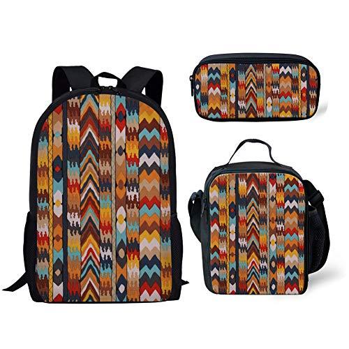 FANCOSAN 3 Pieces Set School Backpack Lunch Bag Pencil Holder Tribal Southwestern Stripes Designs Womens Travel Sport Daypack