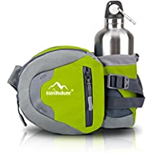 Sunhiker Waist Bag, Sports Water Resistant Waist Pack with Water Bottle (Not Included) Holder, Running Belt Bag Pouch Fanny Pack for Hiking Running Cycling Camping Climbing Travel