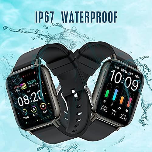 Smartwatch, Orologio Intelligente Touchscreen Intero 1.69\'\' per Uomini Donne, Orologio Fitness con 24 Modalità Sport Impermeabile IP68, Cardiofrequenzimetro Monitor del Sonno Contapassi Calorie, Nero