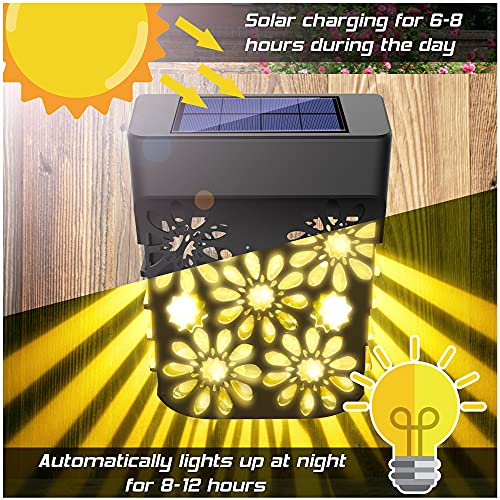Solar Zaun Licht, 2 Stück Solarleuchten für Außen, Wetterfeste Zaunbeleuchtung Solar, Solar-Zaunleuchten für Terrasse Hof und Einfahrt, Zaun, Terrasse, Haustür, Treppe, Landschaft(Warmes Licht)