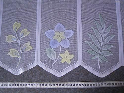 Scheibengardine n/ähfrei 51cm hoch wei/ß mit farbigen Blumen