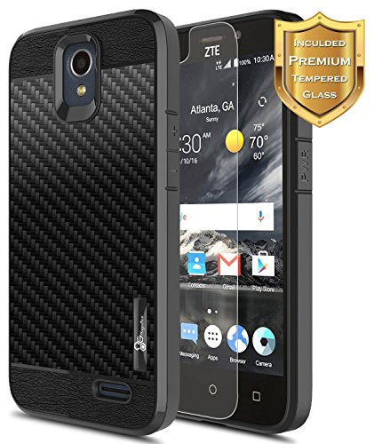 e 2 (Z837VL/Z836B), ZTE Prestige (N9132), ZTE Maven 2, ZTE Sonata 3, Avid Plus, Avid Trio (Z833) w/[Tempered Glass Screen Protector] [Frost Clear] [Carbon Fiber] Slim Case -Black ()