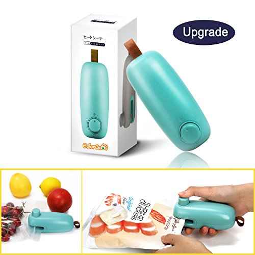 ColorGo Chip Bag Sealer, 2 in 1 Hand Held Mini Portable Heat Sealer for Plastic Bags Food Storage Resealer with Safety Lock [Upgrade Version & Patent Protect] (Bag Gadget 1)