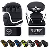 MMA Grappling Training Sparring Mitts Gloves, Elite Sports Best MMA Gloves for Grappling Martial Arts (Black/White, Small/Medium) (Color: Black/White, Tamaño: Small/Medium)