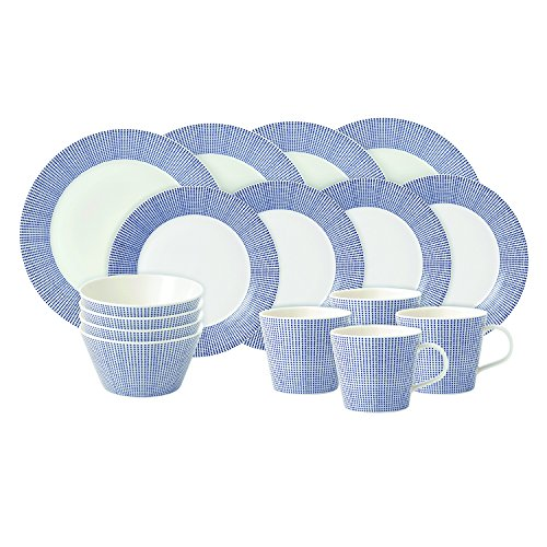 Royal Doulton Pacific Dots 16 Piece Dinner Set, White (Dinner Set Porcelain)