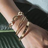 VANVENE Gold Metal Coil Thin Cuff Bangle