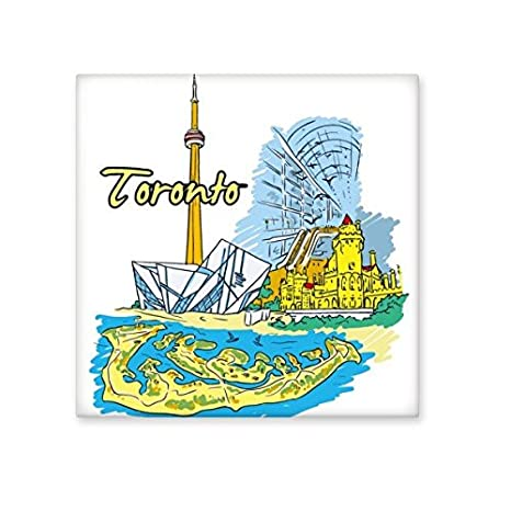 Canada Flavor Toronto Scenery and Landmark Watercolor Pattern Ceramic Bisque Tiles for Decorating Bathroom Decor Kitchen Ceramic Tiles Wall Tiles