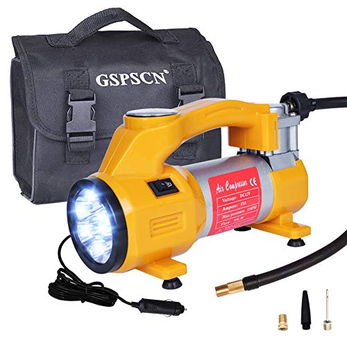 GSPSCN Yellow Tire Inflator Electric 12V Portable Air Compressor Pump 150PSI - Auto Tire Pump with Emergency 7 Led Lighting and Long Cable for Car,SUV,Bicycle,Motorcycle,Basketball and Others