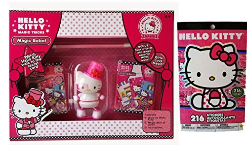 2 Items Christmas Gifts Set for Girls - Licensed Hello Kitty Magic Wind up Robot with Deck of Cards Game with Magic Wand for More Tricks, and 216 H K (Top 50 Movies To Watch On Halloween)