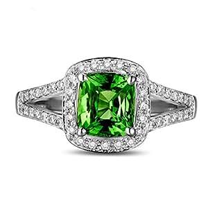 Beautiful 1.75 Carat cushion cut Emerald and Diamond Halo ...