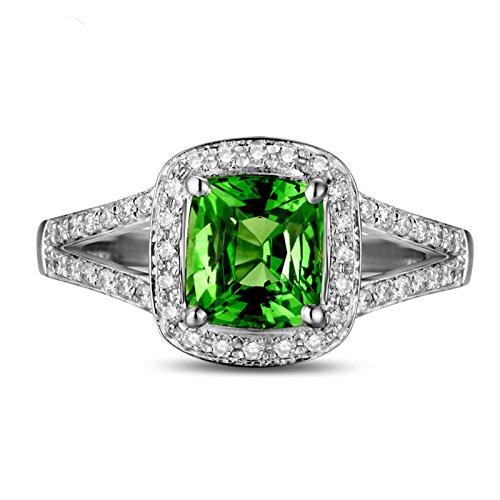 Hermosa 2 Carat cojín Corte Esmeralda y anillo de compromiso de diamantes de Halo en oro
