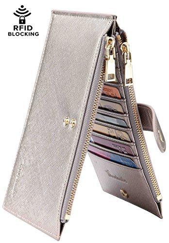 Travelambo Womens Walllet RFID Blocking Bifold Multi Card Case Wallet with Zipper Pocket (synethic leather silver gold)