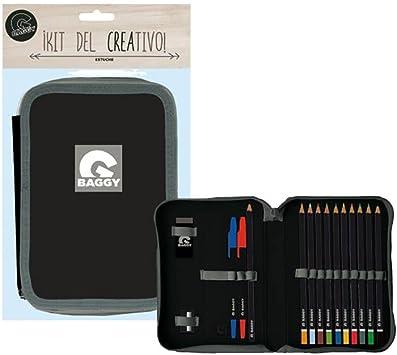 Baggy Plumier Estuche Negro y Gris con Material Escolar: Amazon.es: Juguetes y juegos