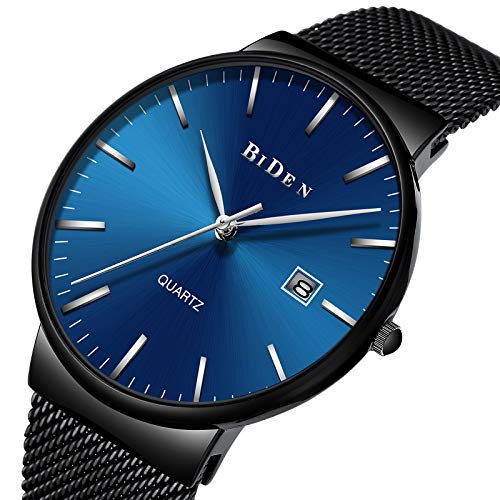 Ultra Thin Mens Watch Casual Business Wrist Watch Waterproof Stainless Steel mesh Band Quartz Watches for Men,Durable Design,Minimalist,Meeting,as a Gift