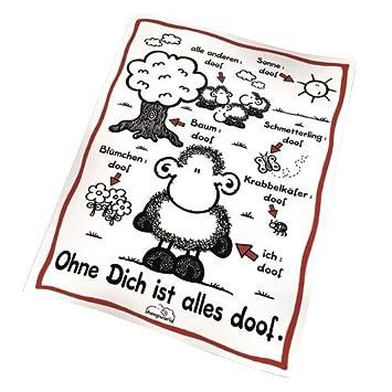 Sheepworld Decke Ohne Dich Ist Alles Doof.Sheepworld Fleecedecke Ohne Dich Ist Alles Doof Weiss Aus 100