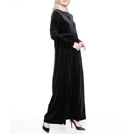 493470429b Muslim Women Islamic Hot Drilling Velvet Robe Plus Size Middle East Long  Dress (Black,
