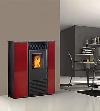 estufa de pellets karmek One Alice de 14,3 KW de aire ventilada de acero, Rojo: Amazon.es: Hogar