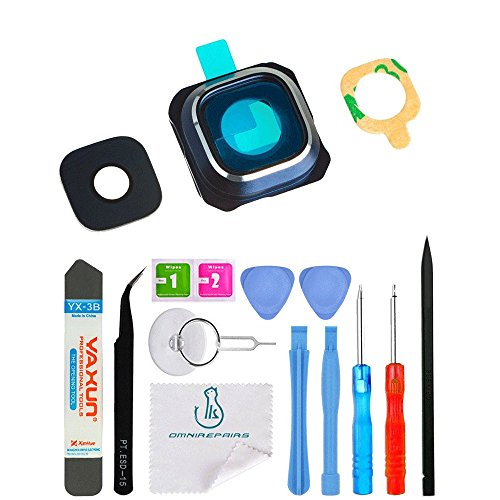 OmniRepairs-Rear Facing Glass Camera Lens Frame Assembly Replacement For Samsung Galaxy Note 5 SM-N920 with Pre-installed Adhesive and Repair Toolkit (Blue)