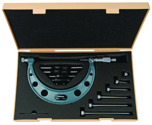Mitutoyo 104-139A Outside Micrometer, Interchangeable Anvils, Ratchet Stop, 0-100mm Range, 0.01mm Graduation, +/-0.00533mm Accuracy, 4 Anvils, 3 Standards