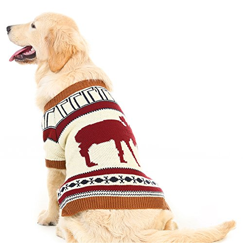 PUPTECK Reindeer Dog Sweater Pet Holiday Festive Winter Clothes Small