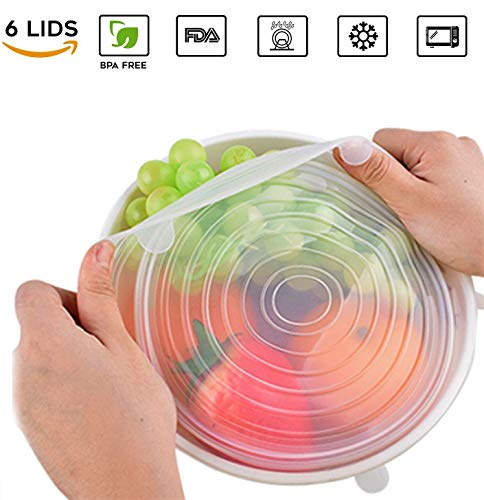 (Premium Quality Silicone Food Saver Stretch Lids, Reusable Cling Film Replacement, BPA-free, FDA-approved, Dishwasher, Microwave and Freezer-safe (6-pack, Clear) by Econic)