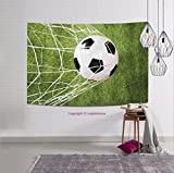 sophiehome-282607202 Close up Of A Soccer Ball In Net tapestry wall hanging magical thinking tapestry 80W x 59L Inches