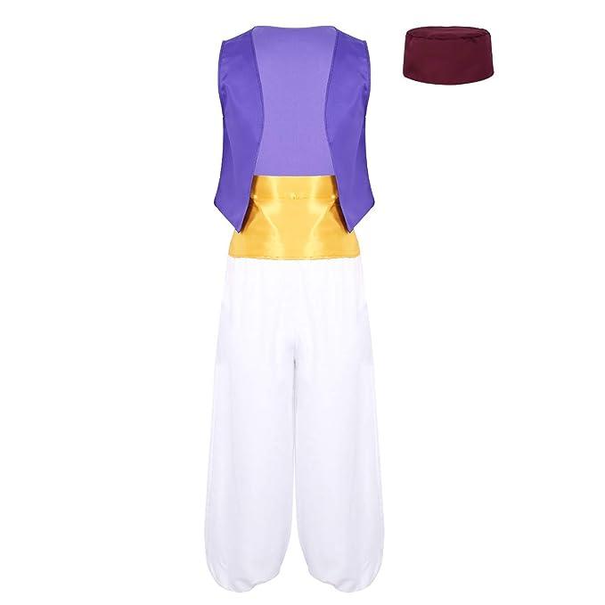 inhzoy Disfraz de Aladdin para Hombres Adultos Conjunto 4Pcs ...