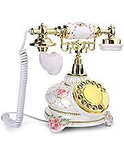 Draaibare telefoon, vintage handset Vaste telefoon Antieke telefoon met snoer Retro vaste telefoon voor thuis, kan opnieuw kiezen en wijzerplaten draaien