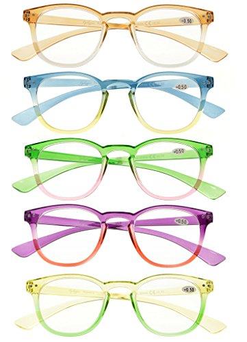Eyekepper Lot de 5 Lunettes de vue pour femme Lunettes de lecture fashion (un pour chaque couleur +1.50) Melangees