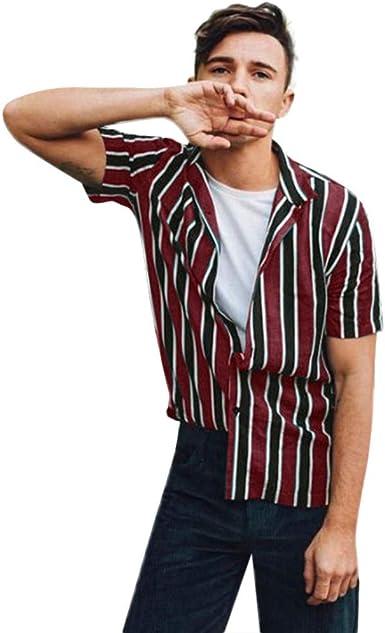 Camisas Hombre Verano Hawaii Manga Corta Raya Impresión Moda ...