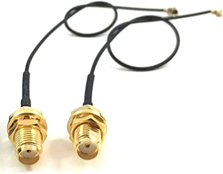 2X U.FL Mini PCI to RP-SMA Pigtail Antenna WiFi Cable 20 Inches 50cm USA