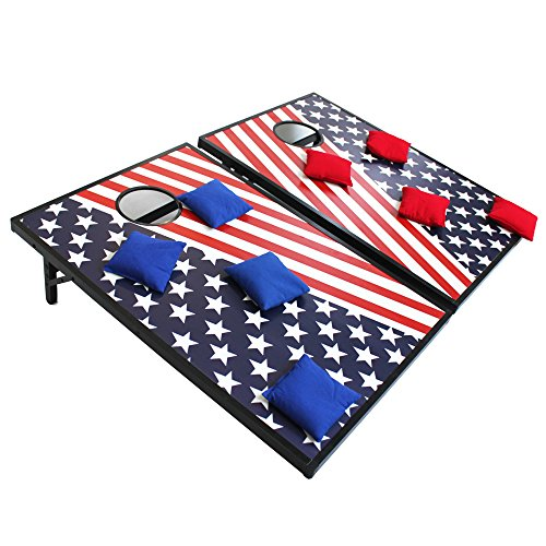 Sports Festival Light Up LED Cornhole Board Bean Bag Toss Game Set (Blue and Red) ()