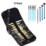 WOWENWO 31 Pieces Carving Tool Set,22 Pieces Wooden Pottery Sculpting Tools,5 Pieces Ceramic Clay Indentation Tool,4 Pieces Double-ended Metal Ball Tools with Roll Up Pouch Case (31 pieces)