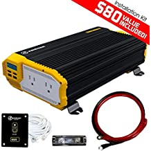 KRIËGER 1500 Watt 12V Power Inverter Dual 110V AC outlets, Installation kit included, Automotive back up power supply for Blenders, vacuums, power tools MET approved according to UL and CSA.
