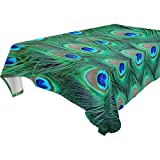ALAZA Peacock Feather,Washable Rectangular Tablecloth for Dinner,Kitchen,Party,Picnic,Wedding,Restaurant or Banquet Use,Fall,Holidays,Thanksgiving,Halloween,Christmas,Tablecovers Spread,60x90 inch