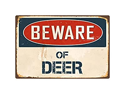 Teisyouhu Yard Fence Garage Decorative Sign Beware Of Deer Metal Aluminum Sign Wall Plaque Decoration Caution Sign