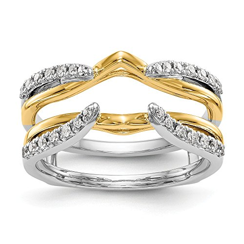 14K Two-tone Diamond Enhancer Ring Guard Wrap 0.248 cttw
