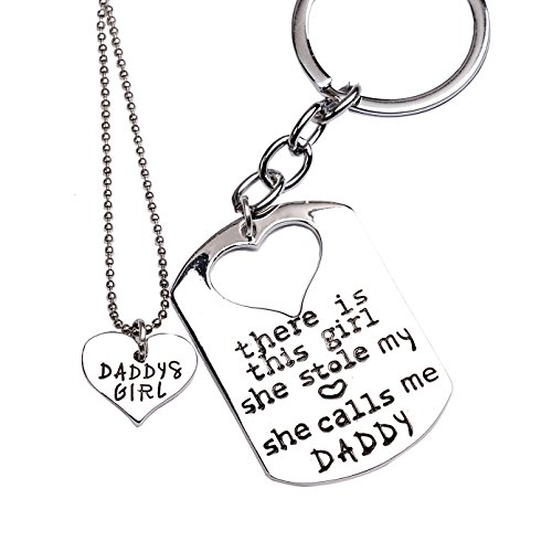 O.RIYA Alloy Father Daughter Keychain & Daddys Girl Necklace Set , Silver Plated