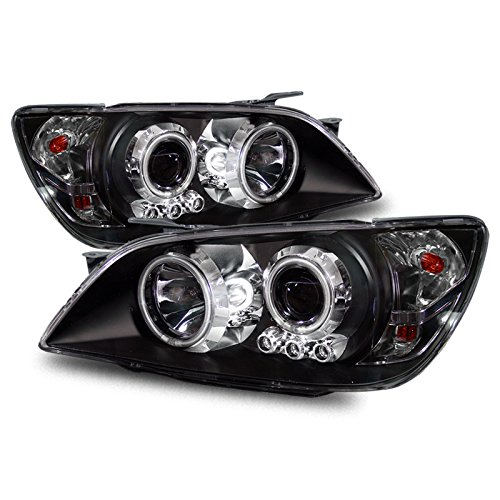 (EpandaHouse Compatible with 01-05 Lexus IS300 LED CCFL Angel Eyes Halo Black Projector Headlights )