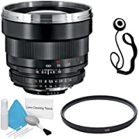 Zeiss 85mm f/1.4 Lens for Nikon Digital SLR Cameras + 72mm UV Filter + Lens Cap Keeper + Deluxe Cleaning Kit DavisMAX Bundle - International Version (No Warranty)